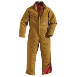 Carhartt - 35481088957 - Carhartt 46 Regular Brown Nylon Quilt Lined 12 Ounce Cotton Duck Firm-Hand Coveralls With Ankle To Waist Two Way Leg Zippers With Protective Wind Flaps And Snap Closures Closure Triple-Stitched Seams (2) Chest Pockets, Hammer