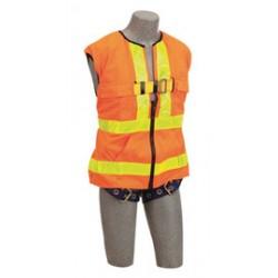 3M - 1107404 - 3M DBI-SALA Universal Delta Hi-Viz Orange No-Tangle Full Body/Workvest Style Hi-Viz Orange Harness With Back D-Ring And Tongue Leg Strap Buckle, ( Each )