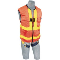 3M - 1111580 - 3M DBI-SALA Universal Delta Hi-Viz Orange No-Tangle Full Body/Workvest Style Hi-Viz Orange Harness With Back D-Ring And Quick Connect Leg Strap Buckle, ( Each )