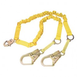 "3M - 1244750 - 3M DBI-SALA 6' Shockwave2 1 15/16"" Polyester Tubular Web Twin-Leg 100% Tie-Off Shock-Absorbing Lanyard With Snap Hook And Flat Steel Rebar Hooks On Leg Ends, Integrated Rescue D-Rings, ( Each )"