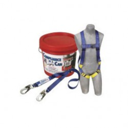 3M - 2199802 - 3M DBI-SALA PROTECTA PRO Compliance-In-A-Can Light Roofer's Fall Protection Kit (Includes 1191995 First Harness, 1341001 Pro 6' Single-Leg Shock Absorbing Lanyard, Bucket And 3600 lb Gated Hooks), ( Each )