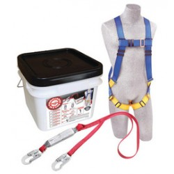 3M - 2199810 - 3M DBI-SALA Universal PROTECTA Compliance-In-A-Can Light Roofer's Fall Protection Kit (Includes 1191995 First Harness, 1340220 Pro-Stop 6' Single-Leg Shock Absorbing Lanyard, AJ47410 Web 6' Tie-Off Adapter And Bucket), ( Each )