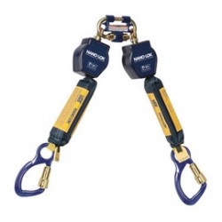 3M - 3101275 - 3M DBI-SALA 6' Nano-Lok Twin Leg Self-Retracting Dyneema Polyester Web Lifeline With Quick Connector Anchorage Connection And (2) Aluminum Captive Eye Carabiner, ( Each )