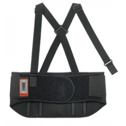 Ergodyne - 11107-EA - Ergodyne 3X 9 Black ProFlex 1600 Elastic Standard Back Support With Rubber Track, Polypropylene Stays And Detachable Suspenders, ( Each )