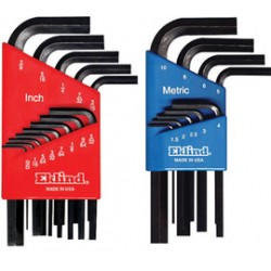 Eklind Tool - 10509-CT - Eklind 1.5mm - 10mm Black Alloy Steel Short Series Hex-l 9 Piece Hex Key Set With Holder, ( Carton of 6 )