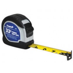 "Empire Level - 7535 - Empire Level 1"" X 33' Yellow ABS Case Yellow Nylon Coated Steel Blade Power Grip Measuring Tape With Triple Riveted, Reinforced Dual End Hook, Belt Clip And Slide Lock"
