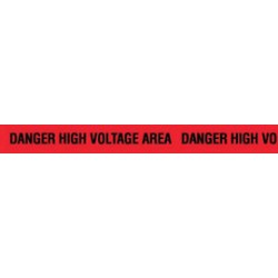 Harris Industries - BT54EC - Harris Industries 3 X 1000' Black/Red 3 mil Polyethylene BT Series Barricade Tape DANGER IGH VOLTAGE AREA, ( Roll )