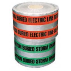 "Harris Industries - DU-06-6 - Harris Industries 6"" X 1000' Black/Blue 4.5 mil Aluminum Foil Underground Detectable Barricade Tape ""CAUTION BURIED WATER LINE BELOW"", ( Roll )"