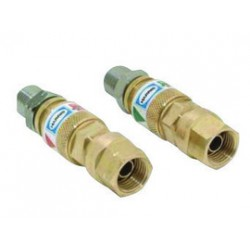 """Harris - 4301653 - Harris """"B"""" 9/16"""" - 18 Brass And Steel Regulator Quick Connector With 26-QCR Right And Left Flash-Guard (Pair), ( Package )"""