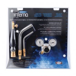 """Harris - 4400090 - Harris Inferno HLP-3 15 1/2"""" X 6 1/4"""" X 16"""" CGA-510P Air Fuel Quick Connect Propane And Propylene Swirl Torch Kit With """"B"""" Hose Connection (Includes Brazing Tips, Handle, Fuel Gas Regulator, Chrome Wrench And"""