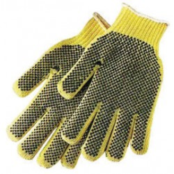 Honeywell - KVD18ALR-100 - Honeywell Ladies Yellow Sperian Perfect Fit Dotted Style 7 gauge Standard Weight Leather Cut Resistant Gloves With Seamless Knit Wrist And PVC Dots Coating