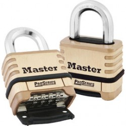 Master Lock - 1175-PK - Master Lock Brass Brass Combination Security Padlock Boron Alloy Shackle, ( Pack of 4 )