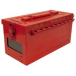 Master Lock - S600 - Red Stainless Steel Group Lockout Box, Max. Number of Padlocks: 19, 5-43/64 x 6-27/64