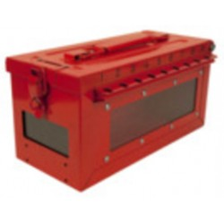 Master Lock - S601 - Red Stainless Steel Group Lockout Box, Max. Number of Padlocks: 19, 5-43/64 x 6-27/64