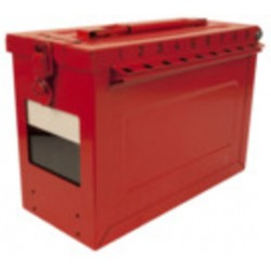 Master Lock - S602 - Red Stainless Steel Group Lockout Box, Max. Number of Padlocks: 19, 9-1/16 x 6-27/64