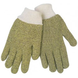 Memphis Glove - 9432KM - Memphis Glove Small Brown And Yellow Regular Weight Loop-Out Kevlar Cotton Blend Terry Cloth Heat Resistant Gloves With Knit Wrist Cuff