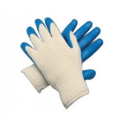 Memphis Glove - 9682L - Memphis Large 10 Gauge Blue Latex Dipped Palm And Fingertip Coated Work Gloves With String Knit Cotton And Polyester Liner And Knit Wrist