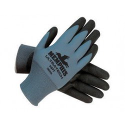 Memphis Glove - 9699L - Memphis Large UltraTech HPT 15 Gauge Cut And Abrasion Resistant Black Nylon Dipped Palm And Finger Coated Work Gloves With Knit Wrist