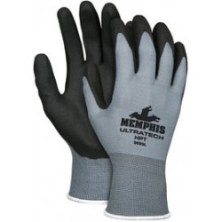 Memphis Glove - 9699XL-CA - MCR Safety X-Large UltraTech 15 Gauge Black HPT Palm And Finger Tip Coated Work Gloves With Gray Nylon Liner And Knit Wrist, ( Case of 144 )