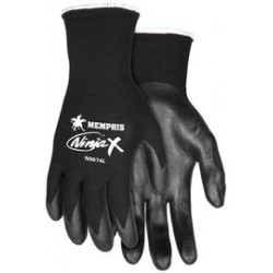 Memphis Glove - N9674S-PR - MCR Safety Small Ninja X 15 Gauge Black Bi-Polymer Knuckle Coated With Nitrile Dots On Palm Work Gloves With Black Nylon/Lycra Liner And Knit Wrist, ( Pair )
