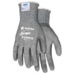 Memphis Glove - N9677L - Memphis Large Ninja Force 13 Gauge Cut Resistant Gray DSM Dyneema Polyurethane Dipped Palm And Finger Coated Work Gloves With Knit Wrist