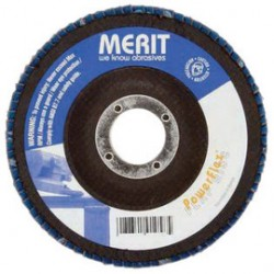 Merit Abrasives - 08834194925-EA - Merit Abrasives 4 1/2 X 5/8 - 11 60 Grit POWERFLEX Zirconia Alumina Type 27 Flat Shape Flap Disc With Fiberglass Backing And Raised Hub, ( Each )