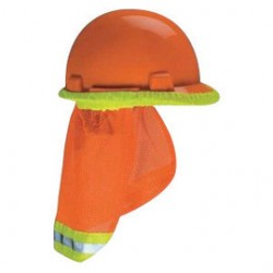 MSA - 10098031-CA - MSA Hi-Viz Orange Polyester Mesh Sunshade With Reflective Stripe On Orange Band, ( Case of 5 )