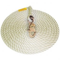 MSA - 415869 - MSA 50' Fixed Vertical 5/8' Polyester Rope Lifeline With RL20 Snap Hook, ( Each )