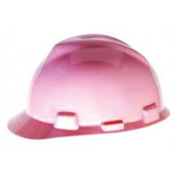 MSA - 485364 - MSA Pink V-Gard Polyethylene Slotted Cap Style Hard Hat With Staz On 4 Point Pinlock Suspension