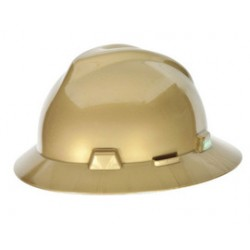MSA - 814053 - MSA Gold V-Gard Polyethylene Slotted Full Brim Hard Hat With Fas Trac Ratchet Suspension