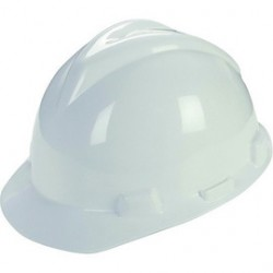 MSA - C217091 - MSA White Super-V Polyethylene Slotted Cap Style Hard Hat With Fas Trac Ratchet Suspension