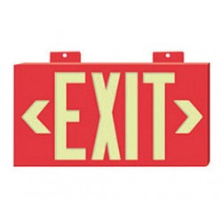 National Marker - 7011-CA - NMC 8 1/4 X 15 1/4 Red 1/4 Plastic GloBrite Single Face Sign Exit With Wall Mounting, ( Case of 5 )