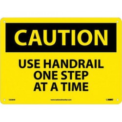 National Marker - C628AB - NMC 10 X 14 Black And Yellow 0.040 Aluminum Rectangle OSHA Sign CAUTION USE HANDRAIL ONE STEP AT A TIME With Wall Mounting, ( Each )