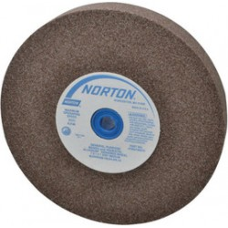 "Norton - 07660788277 - Norton 8"" X 3/4"" X 1"" 60/80 Grit Medium Aluminum Oxide Gemini Alundum Type 1 Bench And Pedestal Wheel"