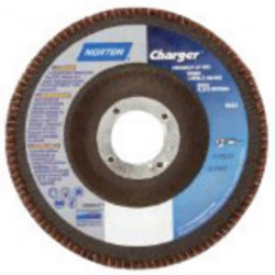 "Norton - 63642503537 - Norton 7"" X 7/8"" 80 Grit CHARGER Jumbo R822 Zircona Alumina Type 27 Flap Disc With Phenolic Resin Backing"
