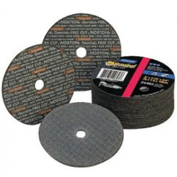 "Norton - 66243510658 - Norton 4"" X 1/8"" X 1/4"" Aluminum Oxide GEMINI FREECUT Reinforced Type 1 Straight Cut Off Wheel For Use With Horizontal or Straight Shaft Grinder On Steel And Stainless Steel"
