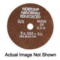 "Norton - 66252830653 - Norton 5"" X .0350"" X 3/8"" 60 Grit Medium A60-08NA2 Aluminum Oxide Reinforced Type 1 Cut Off Wheel For Use With Straight Shaft Grinder On Steel And Stainless Steel"