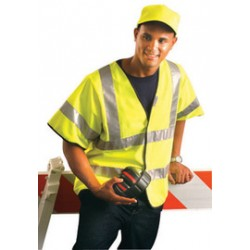 "Occunomix - LUX-HSFULLG-Y3X - OccuNomix 3X Yellow Premium Light Weight Solid Polyester Tricot Class 3 Dual Stripe Short Sleeve Traffic Vest With Front Hook And Loop Closure And 3M Scotchlite 2"" Reflective Tape"