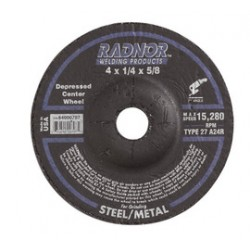 Radnor Welding - 66243533261-BX - Radnor 4 X 1/4 X 5/8 A24R Aluminum Oxide Type 27 Depressed Center Grinding Wheel For Use With Right Angle Grinder On Metal And Steel, ( Box of 20 )