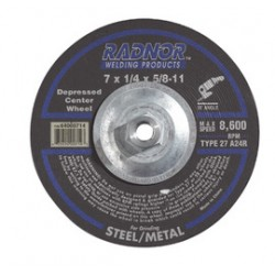 Radnor Welding - 66252916415-BX - Radnor 7 X 1/4 X 5/8 - 11 A24R Aluminum Oxide Type 27 Depressed Center Grinding Wheel For Use With Right Angle Grinder On Metal And Steel, ( Box of 10 )