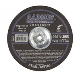 Radnor Welding - 66253019564-BX - Radnor 9 X 1/4 X 5/8 - 11 A24R Aluminum Oxide Type 27 Depressed Center Grinding Wheel For Use With Right Angle Grinder On Metal And Steel, ( Box of 10 )