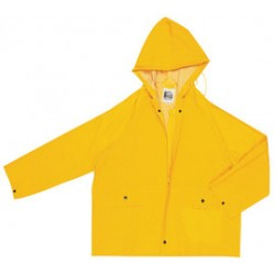 MCR Safety - 220JHL-EA - MCR Safety Yellow Classic .35 mm Polyester And PVC Jacket With Attached Hood, ( Each )