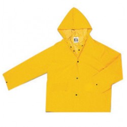 MCR Safety - 220JHX2-EA - MCR Safety Yellow Classic .35 mm Polyester And PVC Jacket With Attached Hood, ( Each )