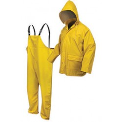 MCR Safety - 5182YX4-EA - MCR Safety Yellow Navigator .40 mm Polyester And Polyurethane 2-Piece Rain Suit With Attached Hood And Bib Pants, ( Each )