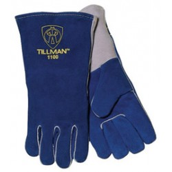 John Tillman - 1100L-DZ - Tillman Large 14 Blue Select Side Split Cowhide Cotton Lined Premium Grade Stick Welders Gloves With Wing Thumb, Welted Finger And Kevlar Lock Stitching, ( Dozen of 12 )