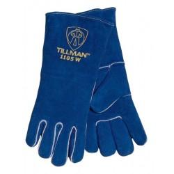 John Tillman - 1105W-PR - Tillman X-Small Ladies 12 Blue Shoulder Split Cowhide Cotton/Foam Standard Grade Stick Welders Gloves With Welted Finger And Kevlar Lock Stitching, ( Pair )