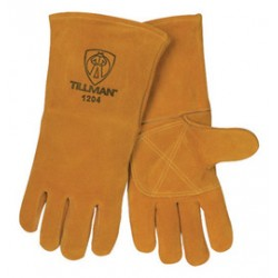 John Tillman - 1204-DZ - Tillman Large 14 Bourbon Brown Side Split Cowhide Cotton/Foam Lined Premium Grade Stick Welders Gloves With Double Reinforced Thumb And Welted Finger (Carded), ( Dozen of 12 )