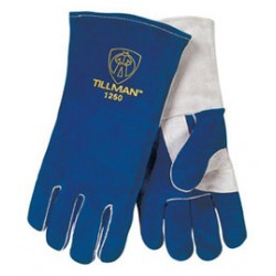 John Tillman - 1250L-PR - Tillman Large 14 Blue And Pearl Gray Side Split Cowhide Cotton And Foam Lined Left Hand Welders Gloves, ( Pair )