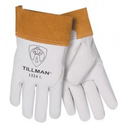 John Tillman - 1328L-CA - Tillman Large Pearl Top Grain Goatskin Standard Grade TIG Welders Gloves With Wing Thumb, 4 Cuff, Seamless Forefinger And Kevlar Lock Stitching, ( Case of 72 )
