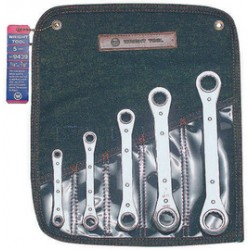 Wright Tool - 9439 - Wright Tool Chrome Plated Alloy Steel 5 Piece 12 Point Straight Pattern Ratcheting Box Wrench Set With (5) Pocket Denim Tool Roll